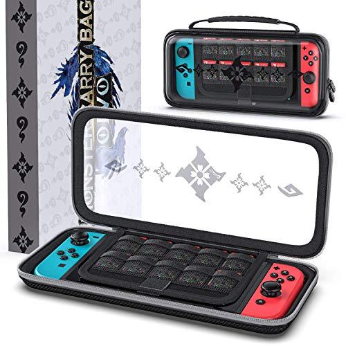 OIVO Tasche für Nintendo Switch/Switch Lite, Hartschalen Case mit Aufbewahrung für 10 Spiele, Monster Hunter Rise Tragetasche, Schutzhülle kompatibel mit Nintendo Switch/Switch Lite