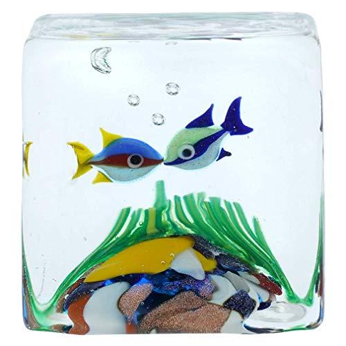 Murano Glas Aquarium Würfel mit zwei tropischen Fischen - 1-1/4 Zoll
