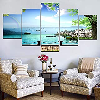 mmwin Wall Art Canvas Home Decor 5 Piezas Island Resort Scenery Pictures Modular HD Prints Poster para Sala de Trabajo