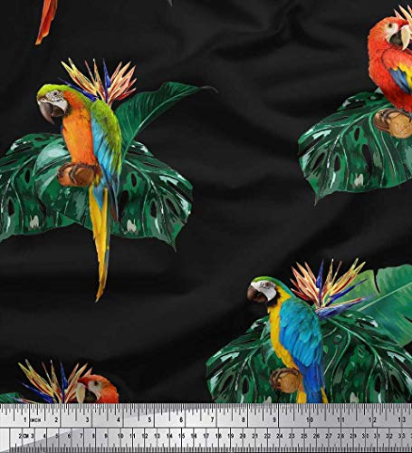 Soimoi Black Cotton Poplin Fabric Monstera Leaves & Macaw Parrot Bird Print Sewing Fabric BTY 56 Inch Wide