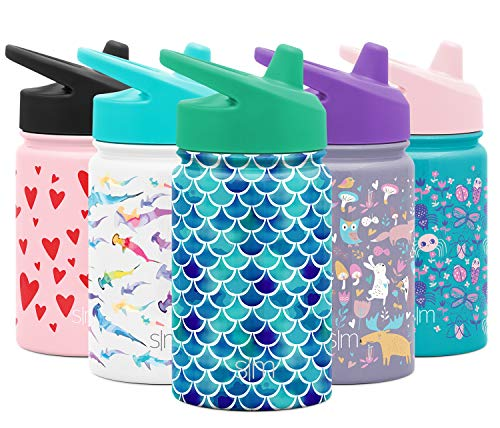 Simple Modern Kids Summit Sippy Cup Thermos 10oz - Stainless Steel Toddler Water Bottle Vacuum Insulated Girls and Boys Hydro Travel Cup Flask -Mermaid Purple