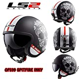 Casco Moto per Adulti LS2 OF599 Spitfire Inky Jet Casco Aperto Moto Chopper Scooter Open Face Urban Touring Motociclo 3/4 Jet caschi, Matt Nero Bianco (M)