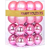 GameXcel 24Pcs Christmas Balls Ornaments for Xmas Tree - Shatterproof Christmas Tree Decorations Perfect Hanging Ball Pink 1.6' x 24 Pack