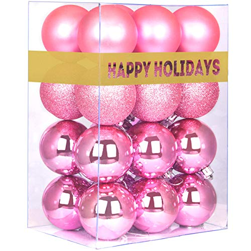 GameXcel 24Pcs Christmas Balls Ornaments for Xmas Tree - Shatterproof Christmas Tree Decorations Large Hanging Ball Pink 2.5' x 24 Pack