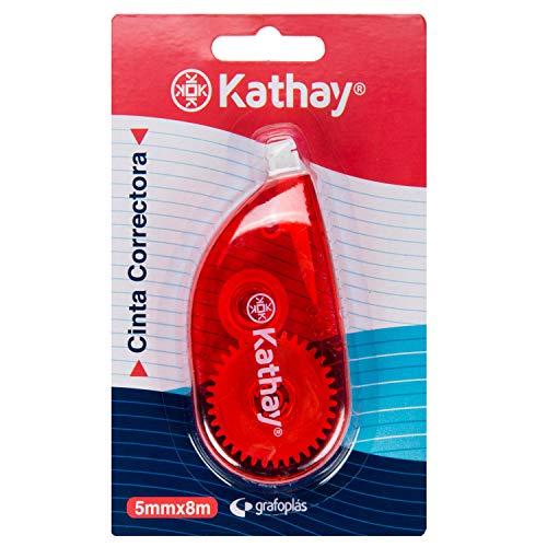 Kathay 86028699. Cinta Correctora Roller 5mmx8m, Colores Aleatorios: Rojo y Marrón, Buena Adherencia