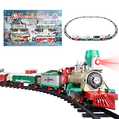 Roxie Classic Metal Alloy Christmas Express Train Set for Around The Tree with Sounds and Lights, Large Tracks and Train Cars, Electric Train Sets for Kids Boys Girls