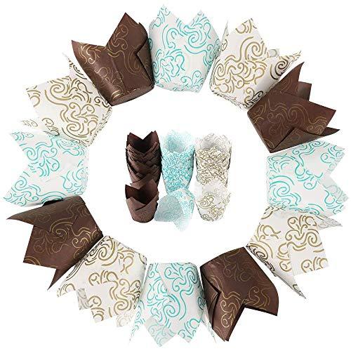 150 Stücke Cupcake Backpapier für Cupcakes Muffins, Tulpen Muffinförmchen Papier, Tulpe Muffin Fälle, mit Wolken Muster, für Haus und Party Wrapping Kuchen(Blau, Gold, Kaffee)