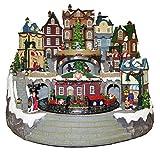 Weihnachtsdorf mit Zug, Laden, Musik, Lichtern u. Bewegung, 38x41x35 cm