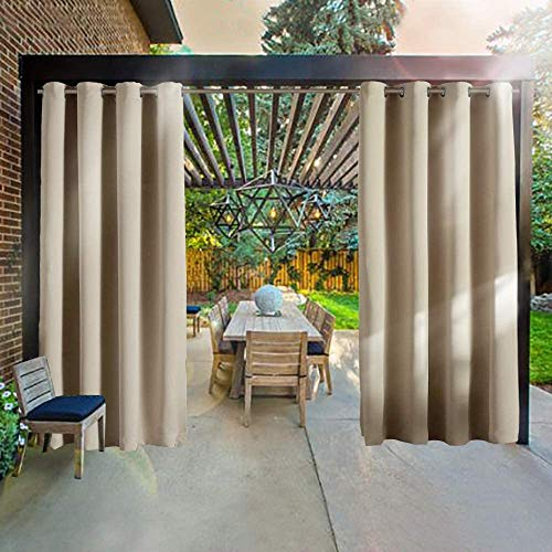 RHF Outdoor Blackout Curtains, Patio Curtains, Outdoor Curtain for Patio, Outdoor Patio Curtains, Outdoor Patio Curtains Waterproof with Grommets, Outdoor Privacy Porch Curtains(Beige-52by84 2Pieces)