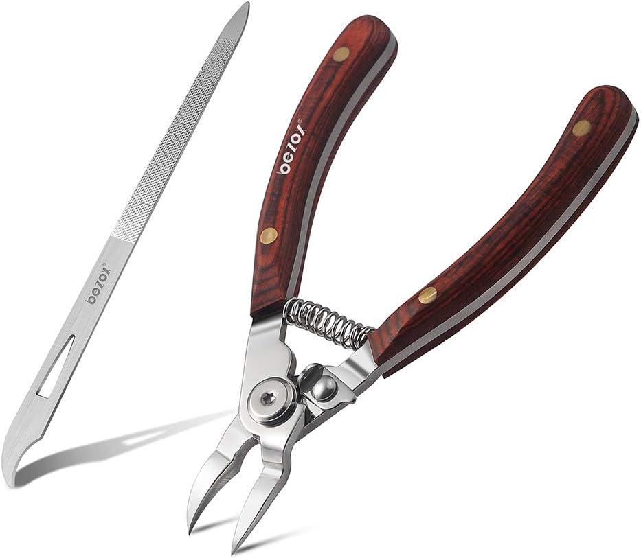 BEZOX Cortaúñas con mango de madera, juego de cortaúñas para uñas encarnadas gruesas y duras, tijeras para uñas afiladas y lima de uñas de meta