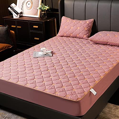 GaoTianyou Sábana Ajustable de algodón Bordada Cubre colchón Acolchado Funda de colchón de Bolsillo Profundo Sábana Antideslizante Queen King Top Hat-Pink_150x190cm + 40cm (1pcs)