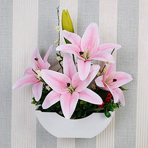 Simulation Lily Mur Montage Plante Tenture Salon Mur Ameublement Faux Fleur Faux Fleur, Fleur Artificielle pour La Décoration Intérieure,C
