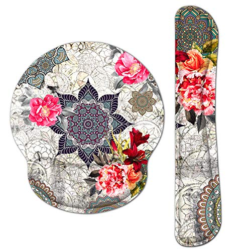 RICHEN Keyboard Wrist Rest and Mouse Pad with Wrist Support, Memory Foam Set for Gaming and Office, Comfortable & Lightweight for Easy Typing & Pain Relief (Mandala Flowers)