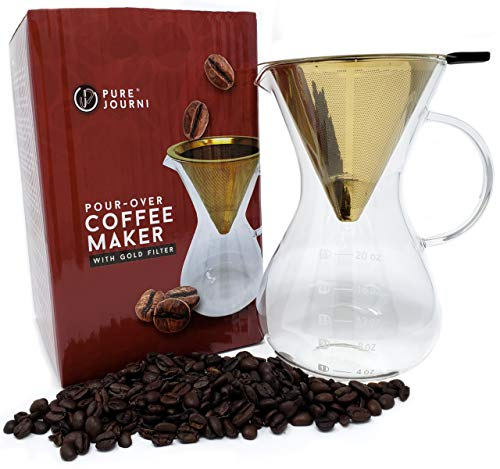 Pure Journi Pour Over Coffee Dripper - Borosilicate Glass, Reusable Gold Filter, 20 oz Pour Over Coffee Maker for the Health Conscious Java Drinker