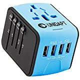 Unidapt Universal Travel Power Adapter, International Adaptor, Fast 2,4A 4-USB Worldwide European Power Charger, AC Wall Plug Adapters – All in One for Europe US USA UK EU AUS & Asia