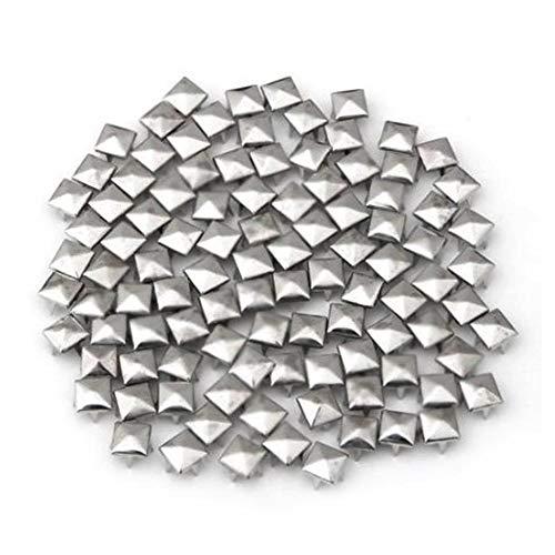 Demarkt 100X 8X8mm Metall DIY Pyramiden Nieten Ziernieten Gothic Silber Farbe