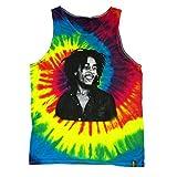 Bob Marley Bust Multi Colored Tie Dye Tank Top Shirt (Small)