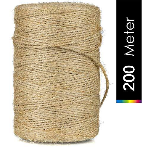 AIRED 200M Cuerda de Yute,Natural Yute Twine, Cuerda Artesanal,Cuerda de Embalaje,Cuerda de jardinería Bricolaje,para jardinería Fotos, Regalos, Manualidades