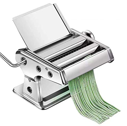 Manual Pasta Maker Machine Stainless Steel Pasta Making Machine met 2 Blades Dough Roller voor spaghetti en lasagne Tagliatelle Fettuccine, Bol Skin Machine,Silver