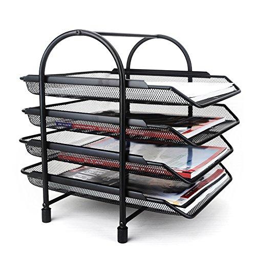 Aibecy 4 Nivel Bandeja de Archivos Organizador y Clasificadora de Documento Papel Colección para Escritorio Oficina de Estante Metal Malla Negro
