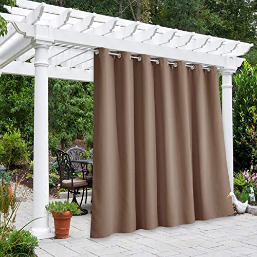 nicetown home patio curtains NICETOWN Outdoor Divider Curtain Waterproof for Patio 84 inch Length, Vertical Blinds Blackout Thermal Insulated Stainless Steel Grommet Top Slider for Outdoor Living, Tan, 1 Panel, W100 x L84