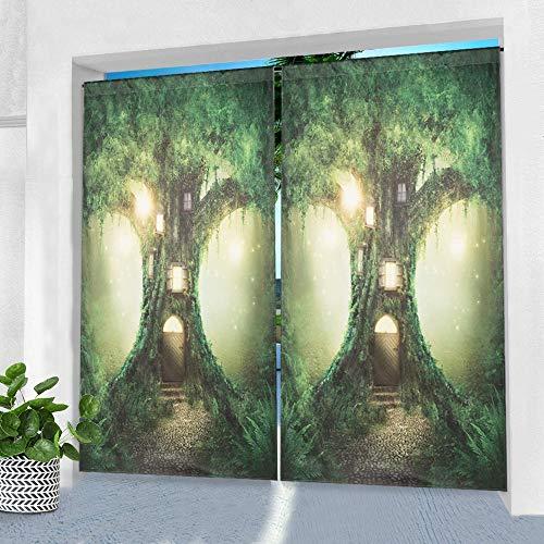 Pro Space Outdoor-Vorhänge für Terrasse, 127 x 213,4 cm, Fantasiewald, bedruckt, wasserdicht, mit Stangentasche, Fenstervorhang für Pergola, Veranda oder Balkon, 1 Panel