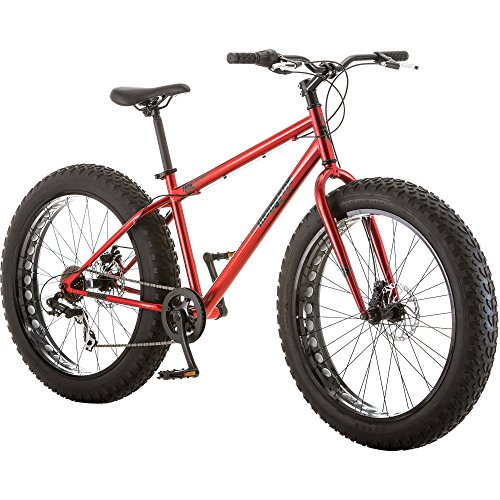 Mongoose Hitch Mens All-Terrain Fat Tire Mountain Bike, 7 Speed Drivetrain, 26-inch Wheels, 4-Inch Wide Tires, Front and Rear Disc Brakes, Red