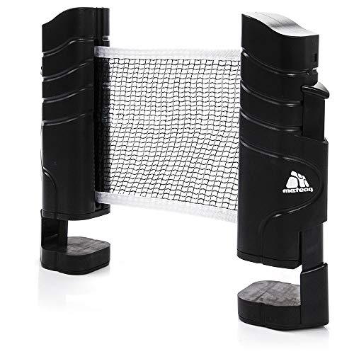 meteor Tischtennisnetze ausziehbar Tischtennis Netze Schwarz - Einziehbares Netz - einstellbare Länge mobiles tischtennisnetz für jeden Tisch 220(max) x 14,5cm (Tischtennisnetze)