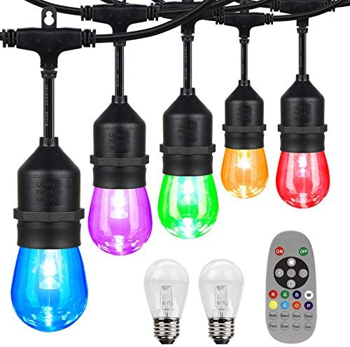 iMartine Outdoor Led String Lights Color Changing Dimmable 48FT Waterproof Colored Warm White product image