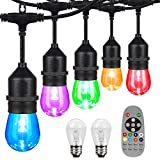 iMartine Outdoor Led String Lights Color Changing Dimmable, 48FT Waterproof Colored Warm White Cafe Light String with Remote /15+2 RGB Shatterproof Edison Bulbs, Patio Backyard Multicolor Red Lighting