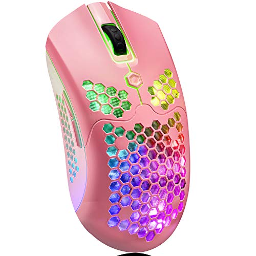 Wireless Gaming Mouse,16 RGB Backlit Ultralight Wireless/Wired Mice with Programmable Driver,Rechargeable 800mA Battery,Pixart 3325 12000 DPI,Lightweight Honeycomb Shell for PC Gamers (Pink)