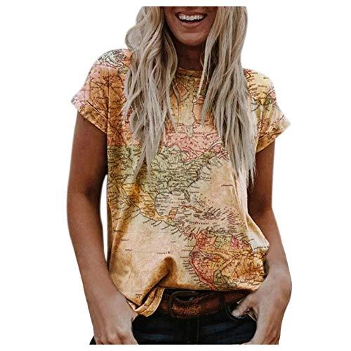 YANFANG Camiseta de Manga Corta con Cuello Redondo y Estampado de Texto del Mapa de la Tierra para Mujer,Camisa Básica Mujer Blusa Camiseta Sexy T-Shirt Top Blusa