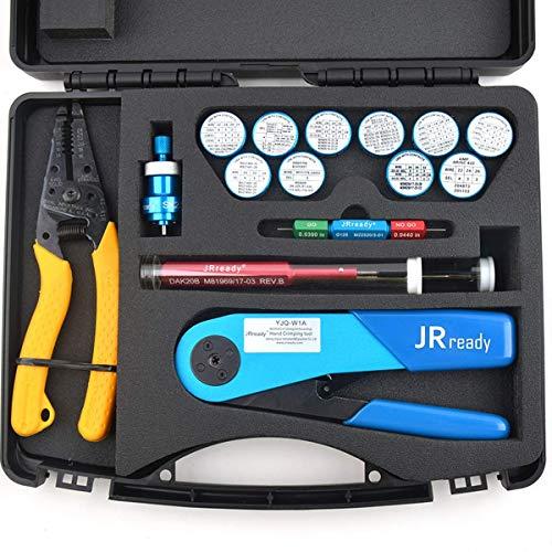 JRready ST1060 Tool Kit,YJQ-W1A Crimper M22520/2-01&Ideal 45-416 Wire Stripper&11 AFM8 Positioners&G125 Gauge&DAK20 DRK20B Installing Removal Tool