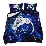 Suncloris,Galaxy White Tiger,3PC Bedding Sheet Set .Included:1Duvet Cover,2Pillowcase(no Comforter Inside) (Full/Queen)