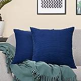 VERCART Juego de 2 Pana Fundas Cojines Decorativas Cuadrado Suave Fundas de Almohada para Sofá Dormitorio Coche Cama Sillas, Azul Profundo 50x50cm
