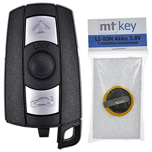 Autoschlüssel Funk Fernbedienung Austausch Gehäuse mit 3 Tasten + Akku kompatibel mit BMW E87 E81 E90 E71 E53 E60 E61 E64 E84 E89 E92
