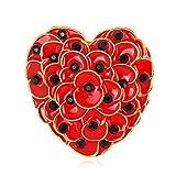 XIONGZ Flor de Amapola roja Broche de joyería Forma de corazón Esmalte Pin Solapa broches Insignia Hijab Pins Regalos...
