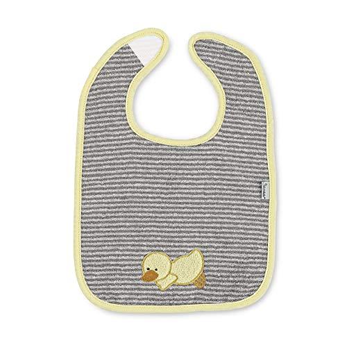 Sterntaler Bavoir à Scratch Canard Edda Baby, Taille : 26 x 38 cm, Gris/Jaune
