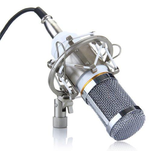 Micrófono condensador BM-800de estudio de grabación, de Oxford Street, dinámico, con soporte antichoque para karaoke, refuerzo de sonido (azul), blanco