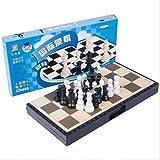 QIFFIY Ajedrez Portátil de Juego de ajedrez Plegable magnética de plástico Tablero de ajedrez Juego de Mesa de Juguete de Regalo Kid Backgammon