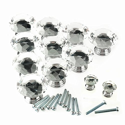 Yosoo 12pcs 25mm Diamond Shape Crystal Glass Cabinet Knob Cupboard Drawer Pull Handle Door Drawer Knob