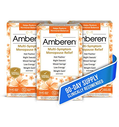 Amberen: Alivio seguro de la menopausia multi-síntoma. clínicamente demostrado para aliviar 12 síntomas de la menopausia: sofocos, sudores nocturnos, cambios de humor, baja energía y más. Suministro de 3 meses