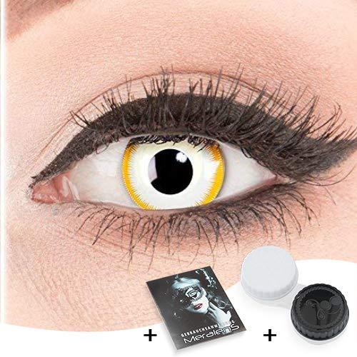 Farbige Kontaktlinsen zu Fasching Karneval Halloween 1 Paar Crazy Fun gelbe weiße 'Alien' mit Behälter in Topqualität von 'Glamlens' ohne Stärke