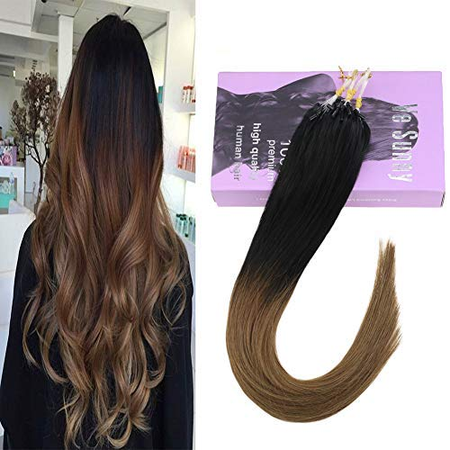 VeSunny Micro Loop Remy Human Hair Extensions 50gr Micro Ring Hair Dark Brown 4#