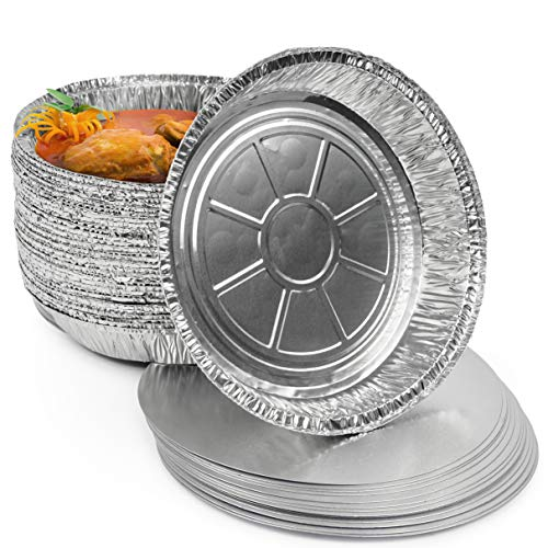40 Premium Contenedores Redondos de Aluminio con Tapa - 23 x 23 cm - Bandejas Moldes Aluminio Desechables para Tarta| Aptos para Congelador y Horno Horneando Catering y Fiestas.