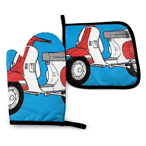 Pag Crane Scooter Motorrad Retro Ofenhandschuhe und Topflappen Sets Küchenarbeitsplatten Matten Hitzebeständige Ofenhandschuhe Grillen (2-teiliges Set)