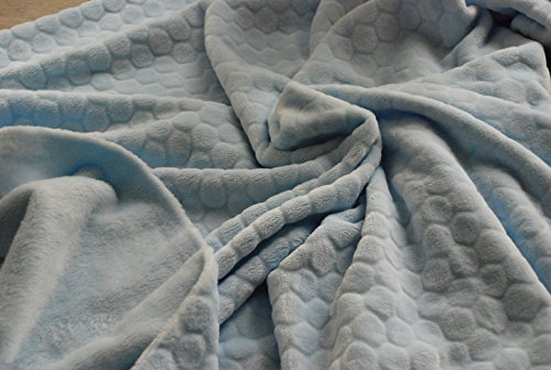 CRS Fur Fabrics Tela de Forro Polar de Doble Cara Muy Suave – Honeycomb Pale Azul