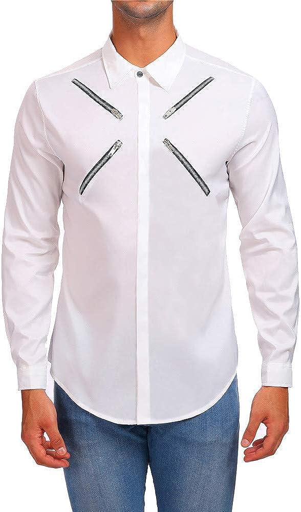 MODOQO Mens Casual Button Down Shirts Long Sleeve Regular Fit Shirt