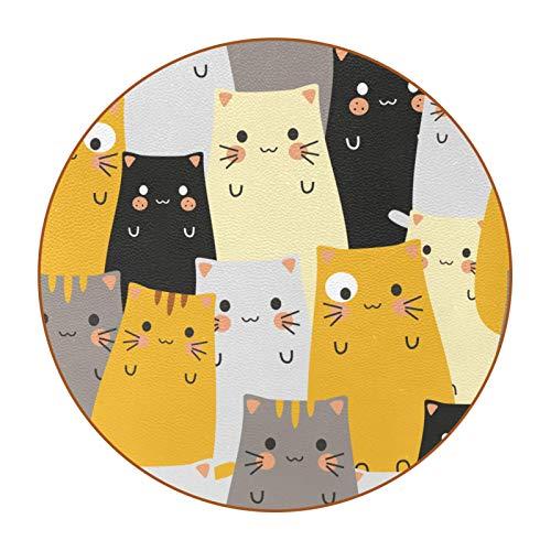 6 posavasos redondos de piel de microfibra para bebidas, estilo rústico, decoración del hogar, creatividad para cocina, sala de estar, diseño de cara de gato hipster de dibujos animados