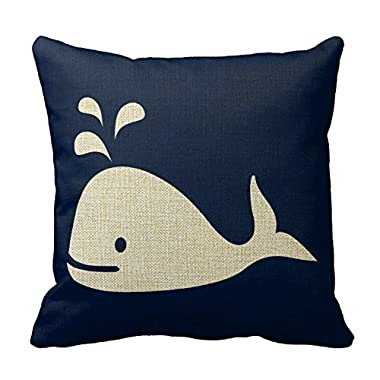 Romantichouse Cotton Linen Square Decorative Whale Nautical Throw Pillowcase In Navy Blue And White